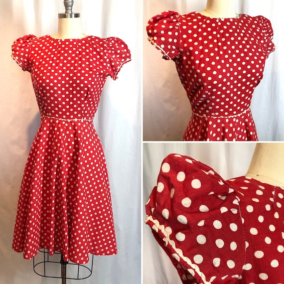 Red and White Polka Dot 1930's Vintage Dress - image 4