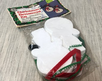 Vintage Holiday Pair of Jolly Snowman Christmas Ornament Kit