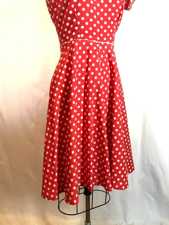 Red and White Polka Dot 1930's Vintage Dress - image 7