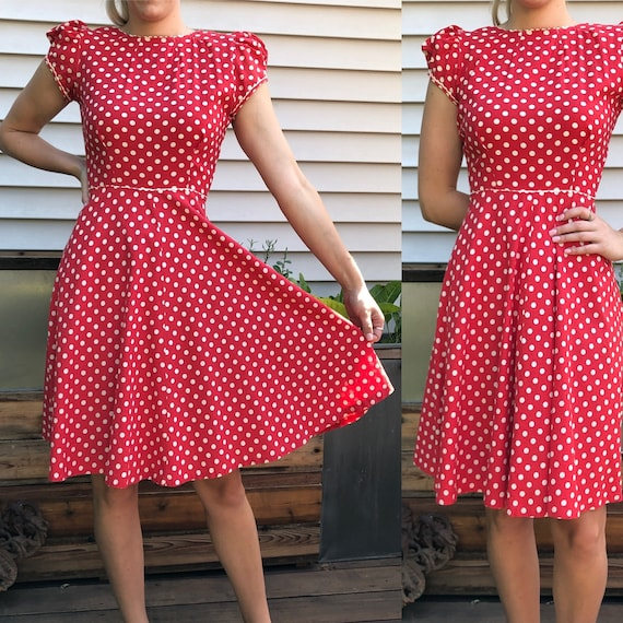 Red and White Polka Dot 1930's Vintage Dress - image 1