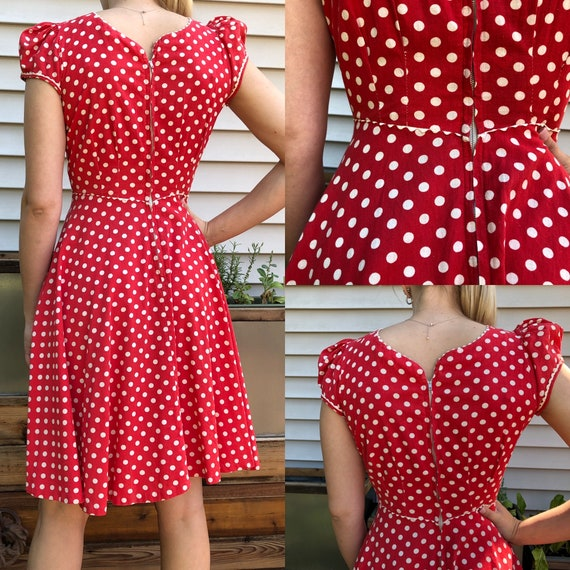 Red and White Polka Dot 1930's Vintage Dress - image 3