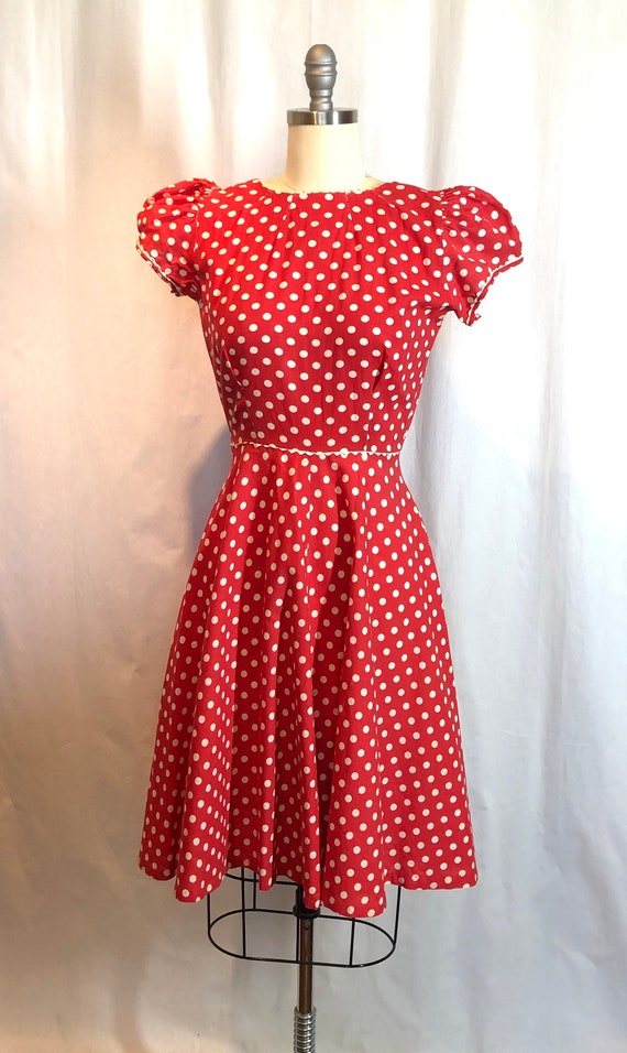 Red and White Polka Dot 1930's Vintage Dress - image 5