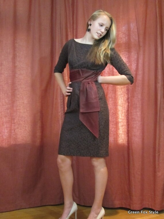 60's Parade New York Wiggle Dress in Brown & Black