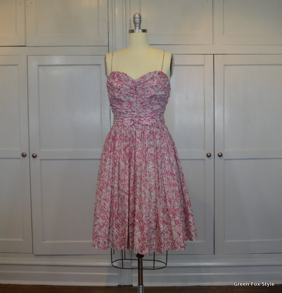 60's Sweet Dress in Pinks and White Cotton Shirred
