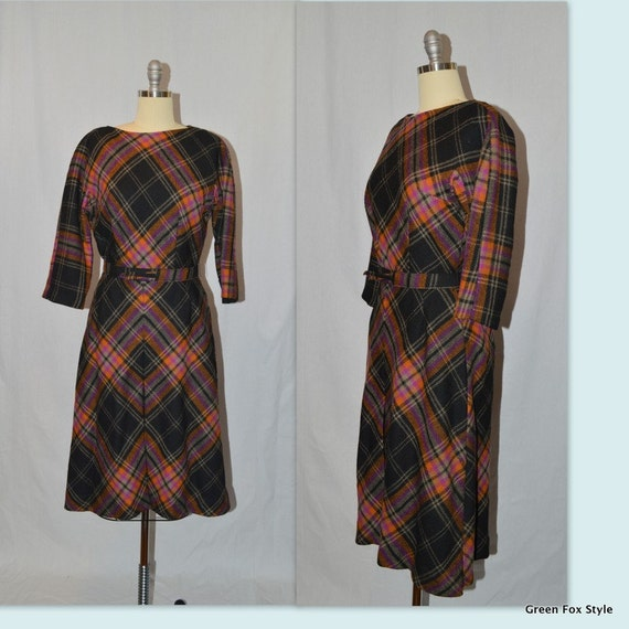 REDUCED 50's Jerry Gilden Wool Plaid Dress