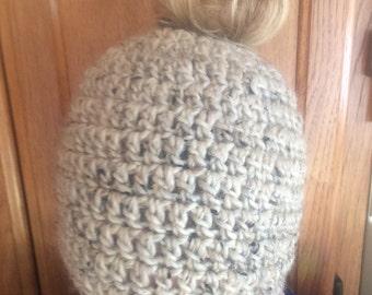 handmade crochet oatmeal color Messy bun hat
