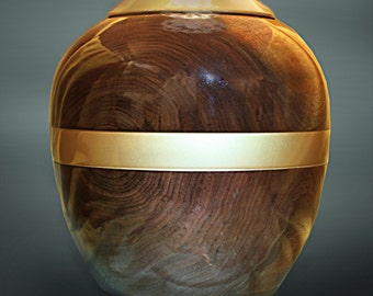 Rich Elegance Urn:  200 CI Black walnut wood turned on a wood lathe w/top and stripe painted in gold lacquer, signed orginal by Robert Woods