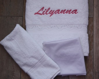 Personalised embroidered towels Ladopana with lace & crystal trim / oil sheet / lathopana / Greek Baptism
