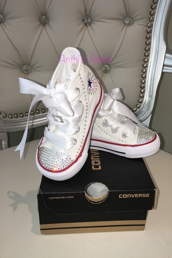 0fccd1bee2fe Custom Crystal Converse Shoes Swarovski Baby Shoes Flower