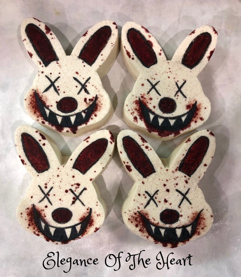 Bloody Mouth Creepy Bunny Head Bombs Unisex Scary Easter Etsy