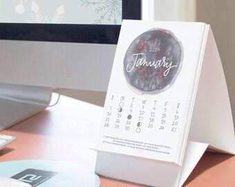 2018 Calendar, Lunar Calendar, Desk Calendar, 12-Month Calendar, Calendar with Stand, Moon Phases, Moon Calendar, Office Decor, Watercolor