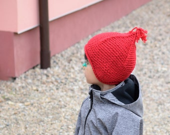 Red marsala earflap hat, ski hat, kids pixie hat, toddler hat, hand knit, chunky hat, premium acrylic and soft wool, choose size and color