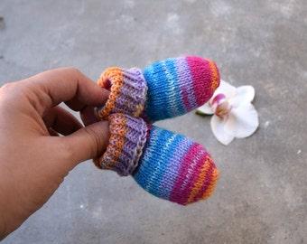 white/purple 0-3 Months Handknit Babys Hat & Coat