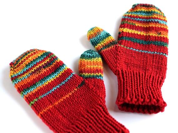 Wool toddler gloves childrens mittens in zebra-red stripes   Etsy