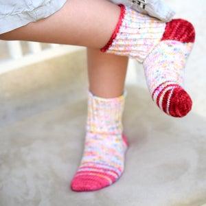 Knitted baby socks  kids socks bluepurplegreen EU size 1819