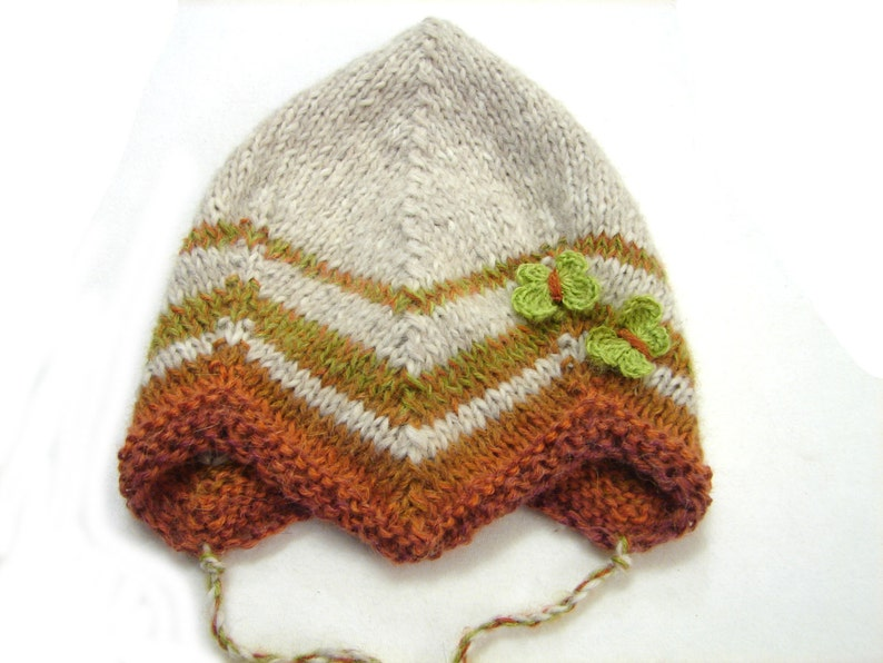 Ready to ship Beige baby fairy hat with brown stripes and green butterflies size 1 year to 3 years