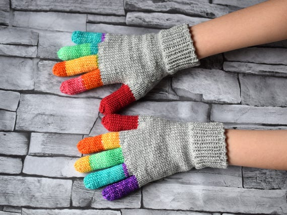 Hand Knit Gray Gloves With Rainbow Fingers Childrens Or Adult Etsy