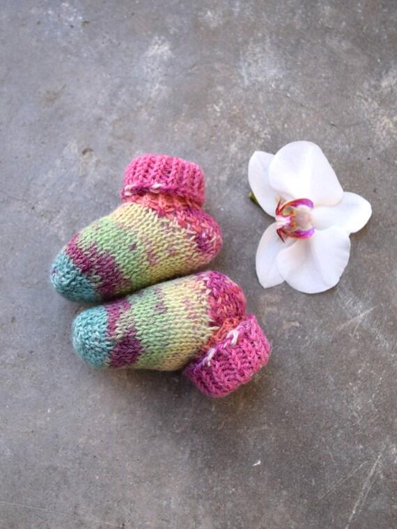 hand knit wool socks 3-6 month pink and gray merino wool baby booties Striped baby socks 6-12 month newborn