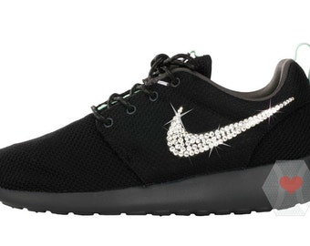 Women s Nike Roshe One in Black w  Swarovski crystal clear - Nike Swarovski  - Bling 1e1d89583