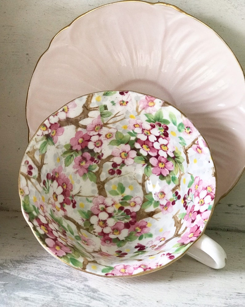 A stunning Shelley Maytime Pink teacup and saucer image 0
