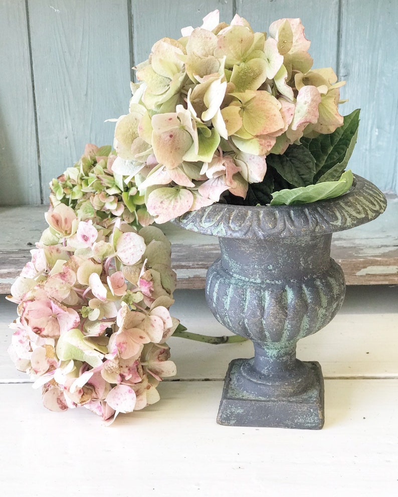 A lovely little French cast iron garden urn image 0