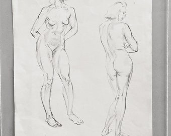 An original vintage life drawing pencil sketch of a nude