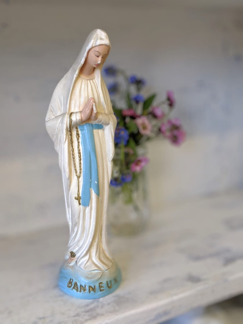 A pretty French vintage chalk ware Our Lady of Banneux or Our image 0