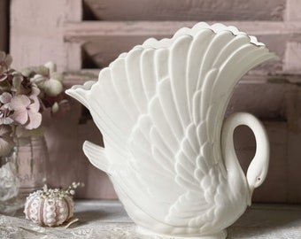 A beautiful 1950's Pottery swan vase or planter