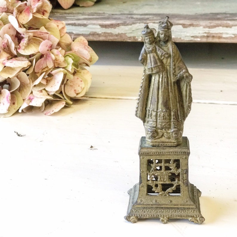 A French brass Madonna and child Our Lady Mary statuette image 0