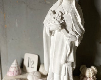 A vintage French chalkware painted Saint Therese Lady of Lourdes