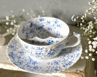 Beautiful large French antique moustache cup and saucer