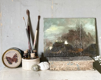 Antique French landscape oil painting circa. 1840.
