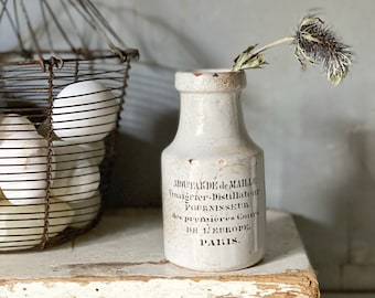 A large French antique Printed ironstone crock advertising jar Moutarde de Maille