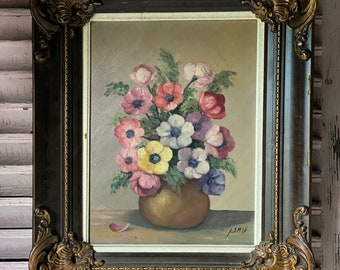 A really pretty vintage French floral painting of Anemones oil on framed canvas