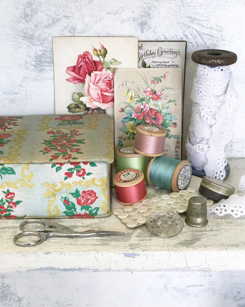 A pretty French vintage covered fabric glove or sewing box image 0