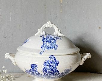 A miniature child's Ironstone blue transferware antique tea set soupier