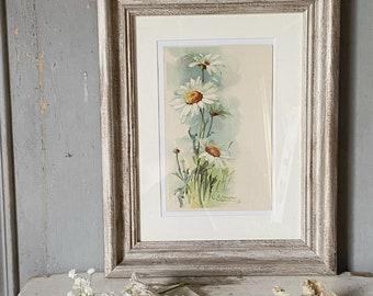 A beautiful framed antique Catherine Kline postcard daisies