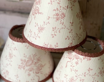 A trio of beautiful vintage French candelabra lampshades with passementerie trim