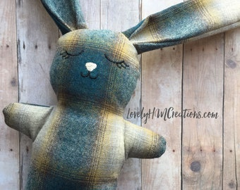 """Keepsake Bunny 9"""" Made from Loved ones clothes, Memory Bunny, Memorial Bunny, Stuffed Bunny, Thoughtful gift"""