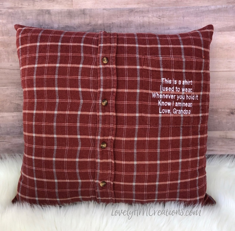 Memory Pillow Insert and Embroidery Message Keepsake Pillow image 0