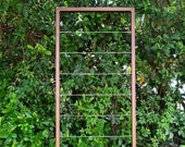 """Clean and Modern Trellis, Metal Frame, Stainless Steel Wire, Wall Mount or Staked, Aluminum Frame, Garden, Lightweight, Handmade, 60"""" x 22"""""""