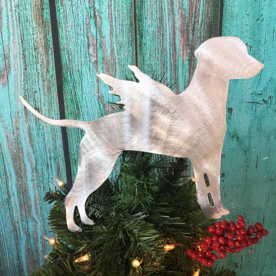 great gift Christmas Tree Topper Beautiful Silhouette in Metal Wall hanging or shelf art or yard stake Dalmatian Angel Dog