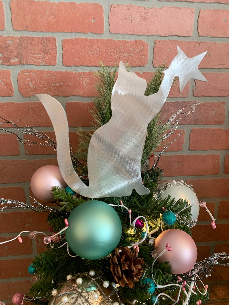 Kitty Cat Cat Christmas Tree Topper Wreath Decor Holiday ...