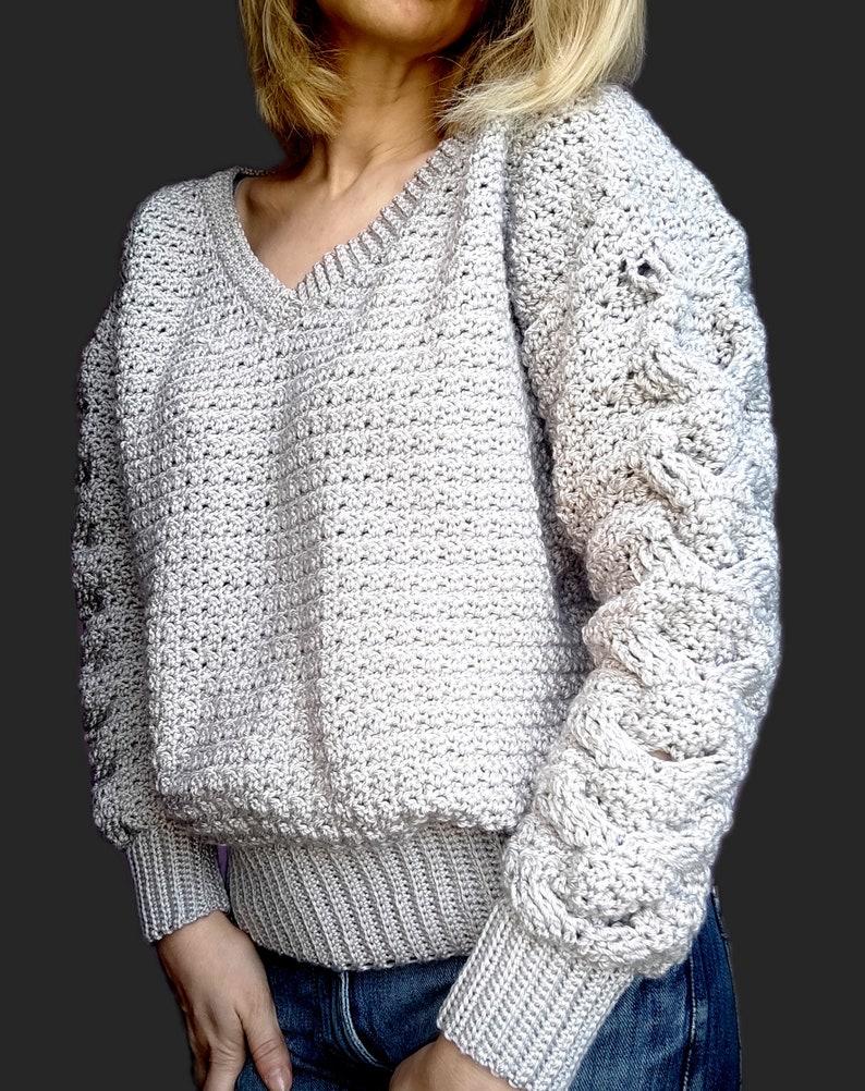 Crochet V-Neck Sweater V-Neck Cable Sweater Pattern Crochet image 0