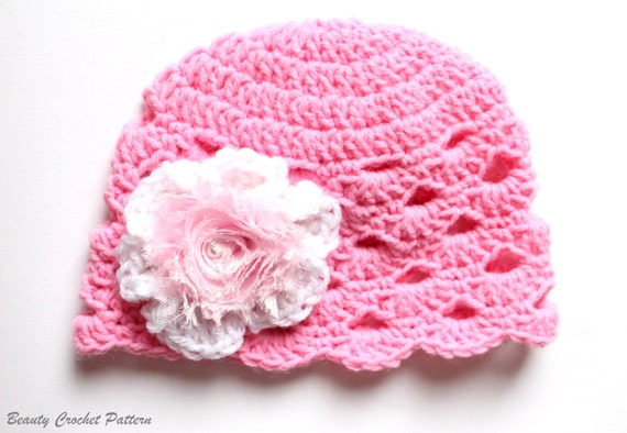 Baby Girl Hat With Flower Baby Girl Hat Crochet Pattern Etsy