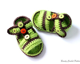 Crochet Baby Sandals Pattern, Baby  Boy Baby Girl Summer Crochet Shoes Pattern,