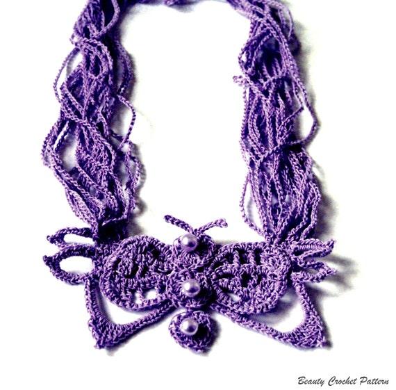 Crochet Pattern Butterfly Necklace Crochet Stand Necklace