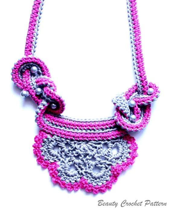 Crochet Necklace Pattern Necklace Crochet Pattern Crochet Etsy