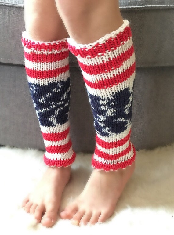 leg warmers dance Independence Day Striped leg warmers kids in red white blue ballet knitted Independence Day outfit girls
