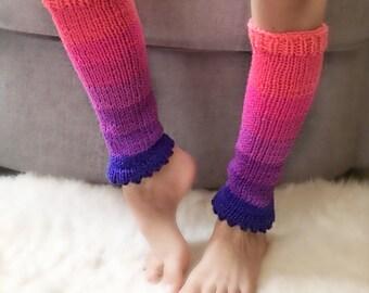 Pink Unicorn Leg warmers kids, pink purple  leg warmers dance, ballet.